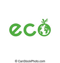 Eco logo - Green eco logo with Earth planet. Vector...