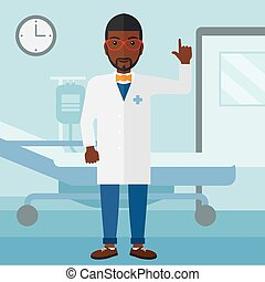 Doctor showing finger up - An african-american doctor in...