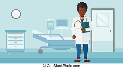 Doctor in hospital ward. - An african-american doctor with...
