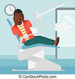 Frightened patient in dental chair - A frightened...