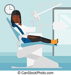 Woman suffering in dental chair - An african-american woman...