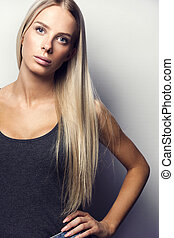 Casual and confident blonde woman model - Confident, causal...