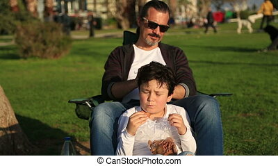Father and son relaxing time - Happy family having fun...