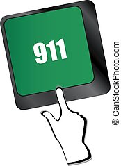 Computer keyboard keys with the 911 sign
