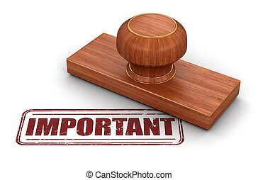 Stamp Important.  Image with clipping path