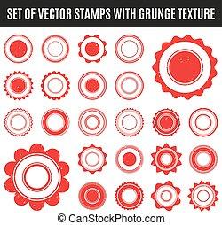 Set of red grunge stamp. Round shapes. Vector illustration