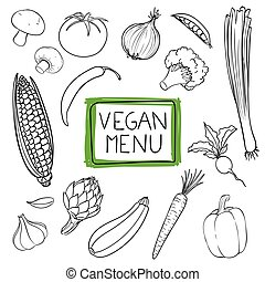 Vector Hand Drawn Vegetables - Vector Illustration of Hand...