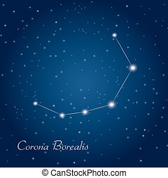 Corona Borealis constellation at starry night sky
