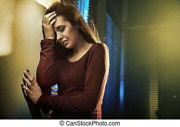 Portrait of a depressed young lady - Portrait of a depressed...