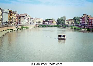boat in Arno river, Pisa