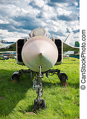 plane  - Military fighter plane on green grass