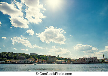 Kiev, the view of the right bank, Podol