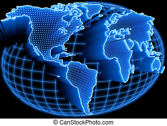 World Map Illuminated - World map self illuminated Concept...