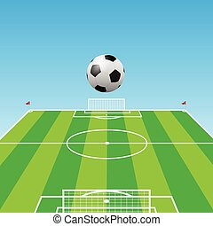 Football pitch-Soccer ball-3d - Illustration of a football...