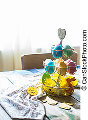 Easter holiday concept - Rustic easter holiday concept with...