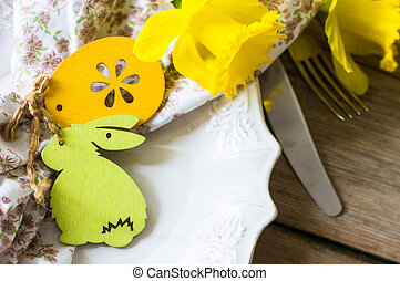 Easter holiday concept - Rustic easter holiday table setting...