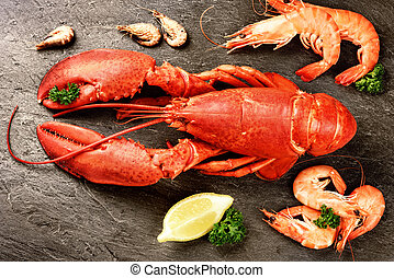 Fine selection of crustacean for dinner. Lobster and shrimps...