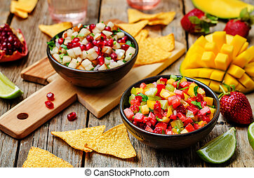 strawberry mango pepper and pomegranate pear salsa. toning....