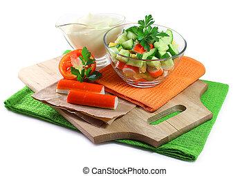 fresh salad with crab sticks