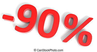 Discount 90 percent off sale 3D illustration