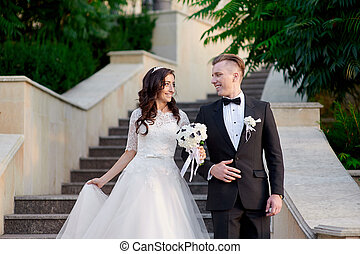 bride and groom walking up the stairs in park - bride and...