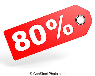 80 percent red discount tag on white background 3D...