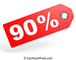 90 percent red discount tag on white background 3D...