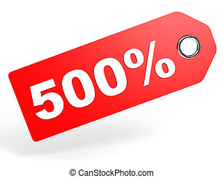 500 percent red discount tag on white background 3D...