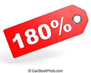 180 percent red discount tag on white background. 3D...
