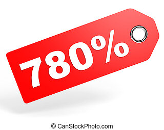 780 percent red discount tag on white background 3D...