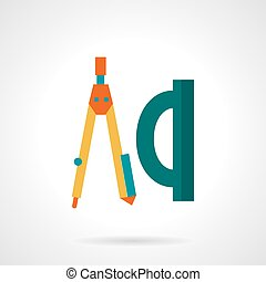 Flat color drawing tools vector icon