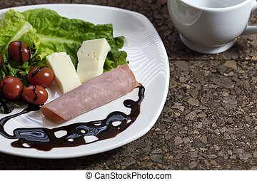 Healthy Appetizer of Cheese, Tomato and Ham - Appetizer made...