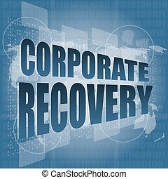 corporate recovery word on business digital screen vector illustration