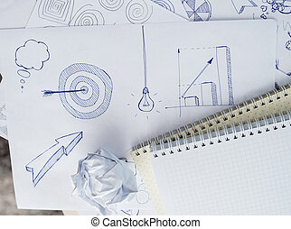 Set freehand drawing sketches on the theme of business