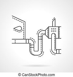 Car emissions test flat line design vector icon