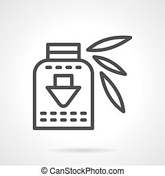 Vitamins syrup black line design vector icon - Herbal...