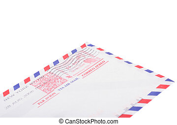 envelope - air post, photo on the white background