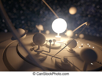 Planetarium Model. Planets and comets orbiting around the...