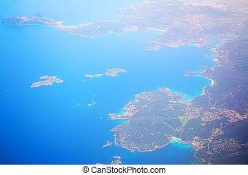 aerial view of costa smeralda coastline, Italy