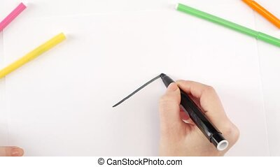 Woman drawing the cigarette using black felt-tip pen on...