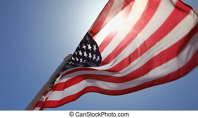 USA flag - American flag fluttering in the wind