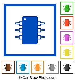 Integrated circuit framed flat icons - Set of color square...
