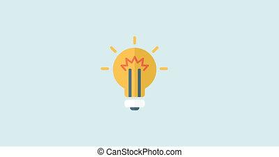 Start Up 4K Animation Design. - Animated Flat Idea Bulb,...