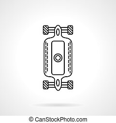 Longboard flat line design vector icon - Skateboarding and...