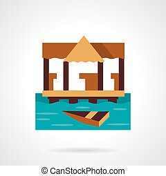 Wooden jetty flat color design vector icon
