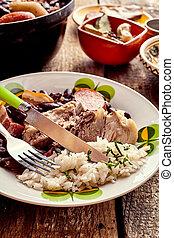 tradicional, Brasileiro, Feijoada, com, carne, e, feijões,