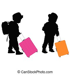child with travel baggage illustration