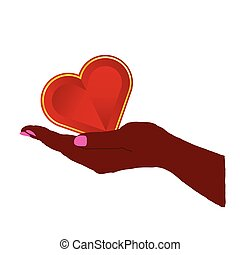 heart red in hand illustration