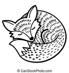 vector isolated fox black and white