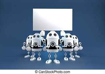 Group of robots with blank board. Contains clipping path